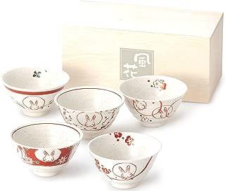 bloom 美浓烧 红彩花兔子 茶碗套装 15586