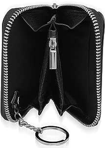 Prime 3 合 1 RFID 屏蔽 2 双拉链环钱包钥匙链环真皮优质钢金属拉链 12 + 信用卡盒夹男士/女士小号纤薄前袋身份证窗口黑色