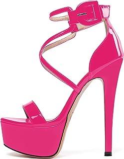 Sammitop 女式露趾防水台凉鞋踝带细高跟鞋