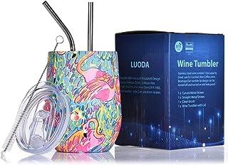 LUODA 12 盎司(约 340.2 克)不锈钢无柄酒杯带盖和吸管真空隔热双层旅行玻璃杯,适用于咖啡、葡萄酒、鸡尾酒、香槟冰淇淋(粉色火烈鸟)