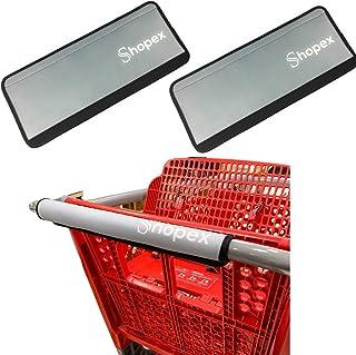 Shopex 购物车把套 适用于购物车、婴儿车和手推车把套 | 适用于成年人、婴儿和环境 | 环保可重复使用 | 40.64 cm 长 Grey, Pack of 2