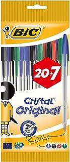 BiC Cristal Original 1.0 毫米圆珠笔 可重新填充 Pack of 20 + 7 Free 多种颜色