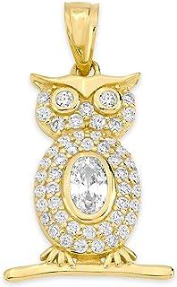 10k 纯金猫头鹰吊坠套装,镶嵌方晶锆石,毕业礼品挂坠,知识和好运
