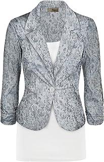 HyBrid & Company 女式休闲工作办公室夹克,美国制造 Opf01-grey Small