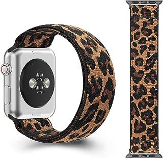 CreateGreat 带豹纹图案的弹性表带,兼容 Apple Watch 38mm 40mm 42mm 44mm(黑色适配器适用于 38mm / 40mm,手腕尺寸:6.0-6.4 英寸S)