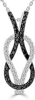 圆形黑白钻石无限结吊坠带 45.72cm 链条项链 14k 白金(总重 0.5 克拉,H-I 和黑色,I2-I3 及处理净度)