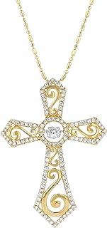 Olivia Paris 14k 双色 3/4 克拉 (cctw) 舞蹈钻石十字架吊坠