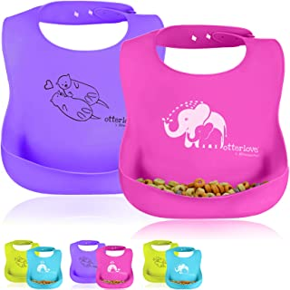 otterlove 防水硅胶围兜–由 platinumpure . 纯白金 LFGB 硅胶 . 无填料 . 有机婴儿与食品追口袋 2 Bib Pack - Pink Elephants & Purple Otters 小号