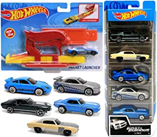 Launch Fast & Furious Speed 赛车套装,带袖珍发射器赛车 5 辆车装福特日产天际线/保时捷 911 / Camaro/Mustang 2 件