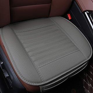 EDEALYN (1PCS) 车内座椅垫 PU 皮无靠背前座椅保护汽车座椅套 - 露背座椅套,深 50.04 cm × 宽 52.99 cm 灰色 PU