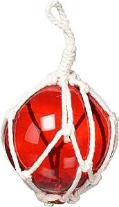 """手工制作航海装饰琥珀日本玻璃球钓鱼漂浮棕网装饰 5.08 厘米 红色 6"""" L x 6"""" W x 10"""" H 6 Red Glass - NEW"""