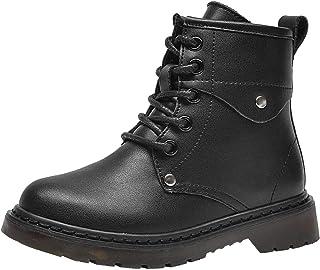 PPXID 男孩女孩皮革军靴系带和侧拉链短款徒步靴雪地靴