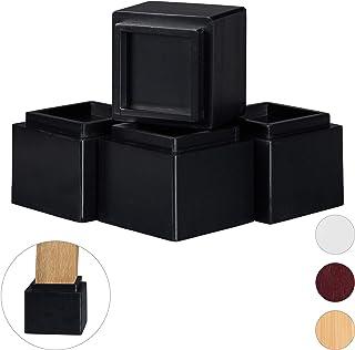 Relaxdays 家具增高器 4 件套,增加 8.5 厘米,适用于餐桌、椅子和其他家具,高 x 宽 x 深 10 x 11.5 厘米,颜色 黑色 4 Stück 10028827_46