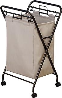 Household Essentials 7172 滚筒洗衣篮带重型帆布包 | 古铜色框架