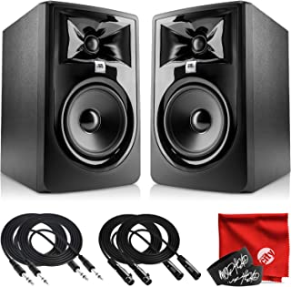 JBL Professional 305P MkII 下一代 5 英寸 2 路供电工作室监听器配对套装,带 2 x 拖头 10 英尺 TRS 电缆,2 x 10 英尺 XLR 电缆,2 x 扎带和超细纤维布