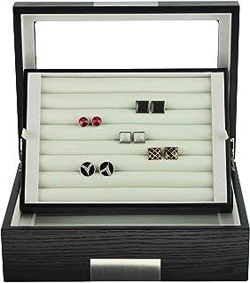 黑色乌木袖扣盒及环储物盒 不锈钢可雕刻设计特色 男式 72 个袖扣