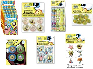 SpongeBob SquarePants 生日派对礼品包 8 件装,包括礼品袋、纹身、贴纸、铅笔、旋转顶、弹力球、溜溜球