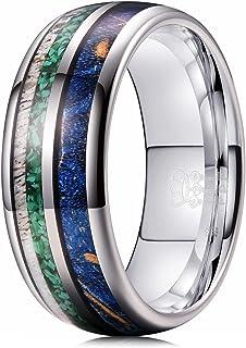 THREE KEYS 珠宝 6 毫米 8 毫米 钨 结婚戒指 考亚木鹿角 绿松石 镶嵌维京人 狩猎戒指