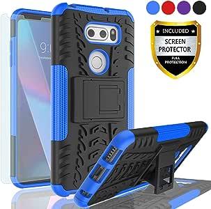 AYMECL LG V30 Plus/V30S ThinQ/V35/V30S/V30+/LG V35 ThinQ 手机壳,轮胎图案设计重载双层防震护套,带高清屏幕保护膜,适用于 LG V30-HN HN-Blue