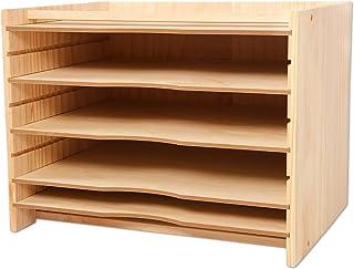 Becko 木质文件收纳盒,纸张分类器,带 4 个可调节架子和顶部储物格,适用于办公室和家用