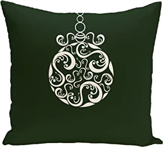 """E By Design Fancy-Bulb Decorative Holiday Print Pillow, 16"""" by 16"""", Dark Green"""