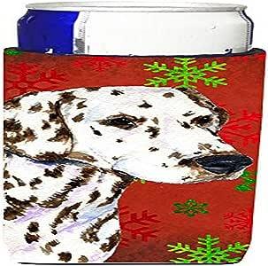 Caroline's Treasures SS4676-Parent Dalmatian 红和绿色雪花节日圣诞*饮料隔热器适用于超薄罐 SS4676MUK,多色 多种颜色 Slim SS4676MUK