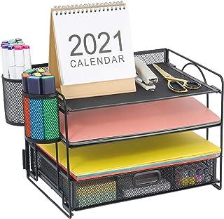 Marbrasse 4 个托盘桌面文件收纳器   纸质信纸托盘带抽屉收纳器和 2 个笔筒   网状办公用品桌面收纳器适用于家庭办公室,黑色