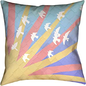 ArtVerse Katelyn Smith 小鸟和日落 x 35.56 cm Pillow-Spun 涤纶