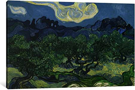 iCanvasART 14370-1PC3-18x12 Olive Trees with The Alpilles in The Background Canvas Print by Vincent van Gogh, 0.75 by 18 by 12-Inch