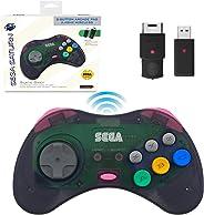 Retro-Bit 官方 Sega Saturn 2.4 GHz 無線控制器 8 鍵式拱門墊,適用于 Sega Saturn、Sega Genesis Mini、任天堂切換、PS3、PC、Mac - 包括 2 個接收器和收納盒 - 石灰