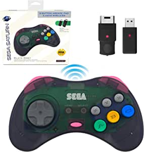 Retro-Bit 官方 Sega Saturn 2.4 GHz 无线控制器 8 键式拱门垫,适用于 Sega Saturn、Sega Genesis Mini、任天堂切换、PS3、PC、Mac - 包括 2 个接收器和收纳盒 - 石灰