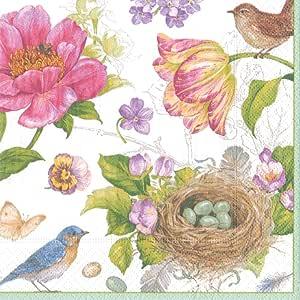 娱乐活动与 caspari 春季 sketchbook 纸方巾毛巾(15包) 粉色 晚餐