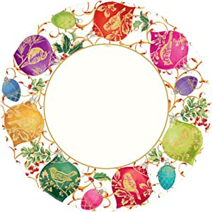 Entertaining with Caspari Entertaining Gilded Ornaments Dinner Plates, Gilded Ornaments, Ivory, Pack of 8