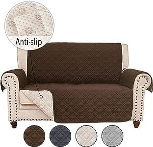 玫瑰家居时尚 RHF 防滑双人沙发套皮革沙发套,沙发套,客厅双人沙发套,双人沙发套和爱人沙发套,皮革沙发防滑沙发套 巧克力色 54'' Loveseat sc-antislip-2-ch