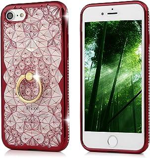 MOLLYCOOCLE iPhone 7 手机壳,柔软 TPU 缓冲奢华闪耀钻石水晶莱茵石透明背壳手机套配备 iPhone 7 *旋转移动手指环支架iPhone 7 红色