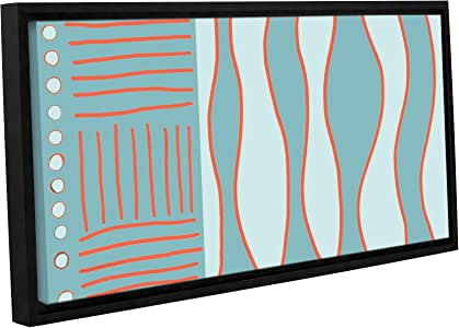 """ArtWall Jan Weiss Fabric Design II Gallery-Wrapped Floater-Framed Canvas Artwork, 12 by 24"""""""