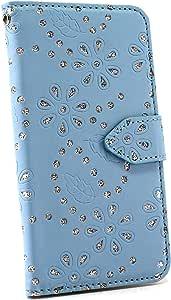 ホワイトナッツ Galaxy S7 edge ケース 手帳型 ラメフラワー ライトブルー オーダー 合皮レザー カードホルダー ストラップホール スタンド機能 カバー WN-OD126063