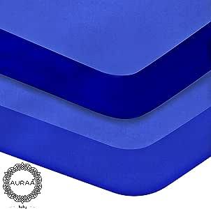 AURAA 婴儿床床单套装,2 件装便携婴儿床床垫套,男女宝宝适用,超柔软 Percale Regatia Blue