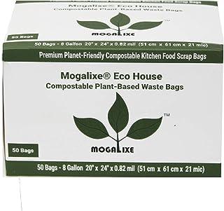 MOGALIXE 环保房屋植物可堆肥垃圾袋 - 家用和工业堆肥认证 - *高 ASTM D6400 评级 - 防漏 8 Gallon