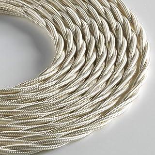 LUMIÈRE 编织织物灯线 用于灯具 3 x 0.75 毫米象牙色 5 米*大防震*!