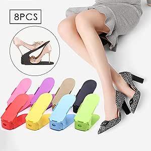 doyixiamen 女性鞋槽整理,可调节鞋架收纳架 - 双层叠 A 鞋槽 - 空间节约储物架 10 个装(黑色) 多彩