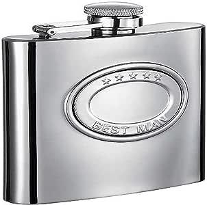 "Visol""5 Stars"" Best Man Stainlesss Steel Hip Flask, 6-Ounce, Chrome"