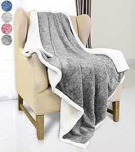 "Catalonia Sherpa 毛绒羊毛毯,超柔软蓬松舒适天鹅绒电视毯和沙发沙发床抱毯,四季可穿戴抱毯,适合成人儿童,50x60 深灰色 Throw(50""x60"") 1CTBF321DG"