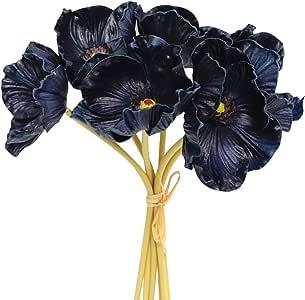 Angel Isabella,LLC 2 件套花束(12 Stems)纪念品仿真仿真仿真仿真罂粟活和环保,非常适合花、胸饰、中心饰等。 *蓝色