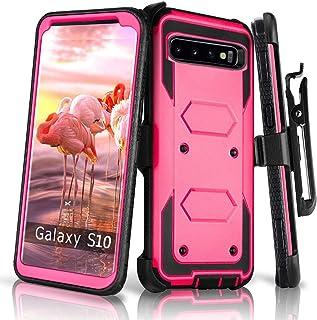 兼容 Galaxy S10E 手机壳,HONTECH 重型盔甲 2 合 1 防震系列防尘保护套,带皮带夹皮套 玫瑰红