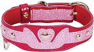 PetsHome 猫项圈,狗项圈,高级 PU 皮革可调节项圈,适用于小型犬和猫咪 F-Pink+Red S