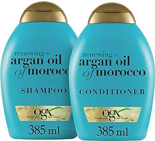 Ogx 焕新+摩洛哥坚果油 洗发水和护发素套装,13盎司/385毫升(包装可能有所不同),蓝色
