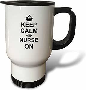inspirationzstore Typography–KEEP CALM and NURSE ON–CARRY ON 哺乳 Job–nurses 日礼品–黑色 FUN 有趣幽默幽默–旅行杯 白色 14 oz