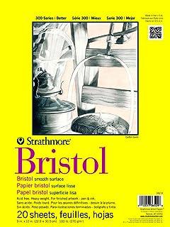 "Strathmore Bristol 光滑纸垫,9 x 12 英寸,20 张 白色 14""x17"" 342-9"