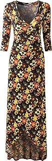 DOUBLJU 女式长袖深 V 领上衣紧身斜襟连衣裙,加大码 Cwdmd136_orangefloral Medium